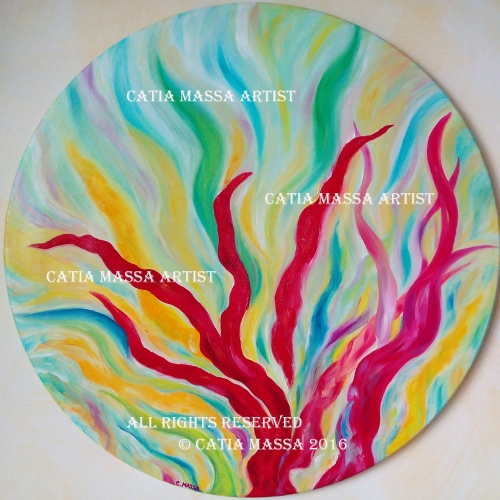 Catia Massa - Untitled - Round painting - N. 1 - Oil on canvas - Diameter cm 50 - 2016